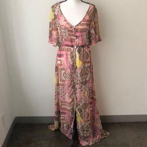 Elan Button Down Gypsie Boho Maxi Dress